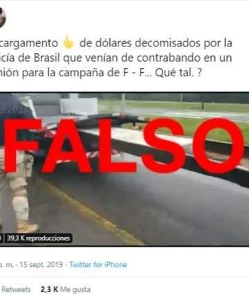 Resultado de imagen para Es falso que en Brasil decomisaron un camión con dólares para la campaña de Fernández-Fernández